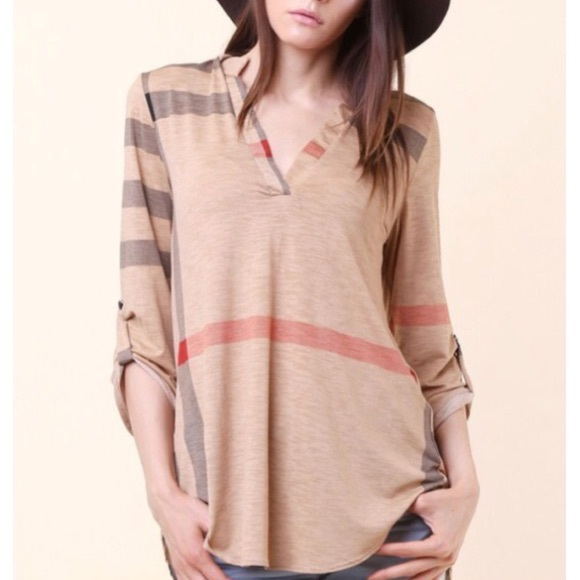1b3ced7e252ce3 ✨LAST ONE ✨Plaid roll up sleeves tunic top